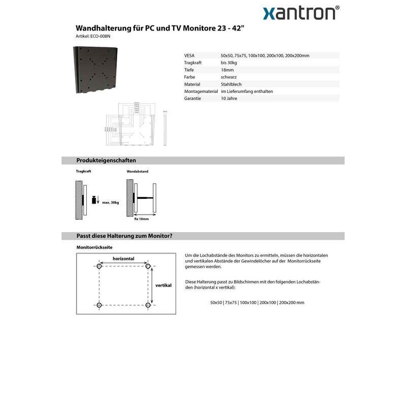 wandhalterung f r tv monitore 23 42 fix ultraflach eco 008n 30 00. Black Bedroom Furniture Sets. Home Design Ideas